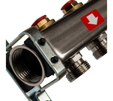 SMS-0932-000006 STOUT Коллектор из нержавеющей стали без расходомеров, с клапаном вып. воздуха и сливом 6 вых.1