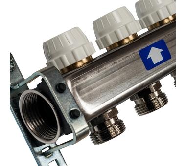 SMS-0932-000009 STOUT Коллектор из нержавеющей стали без расходомеров, с клапаном вып. воздуха и сливом 9 вых.