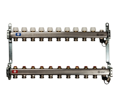 SMS-0932-000010 STOUT Коллектор из нержавеющей стали без расходомеров, с клапаном вып. воздуха и сливом 10 вых.