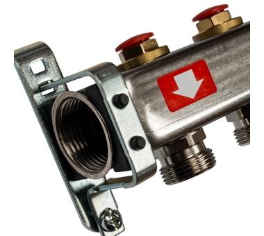 SMS-0932-000010 STOUT Коллектор из нержавеющей стали без расходомеров, с клапаном вып. воздуха и сливом 10 вых.2