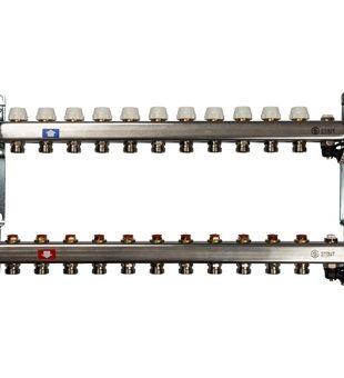 SMS-0932-000011 STOUT Коллектор из нержавеющей стали без расходомеров, с клапаном вып. воздуха и сливом 11 вых.