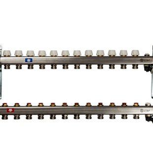 SMS-0932-000012 STOUT Коллектор из нержавеющей стали без расходомеров, с клапаном вып. воздуха и сливом 12 вых.