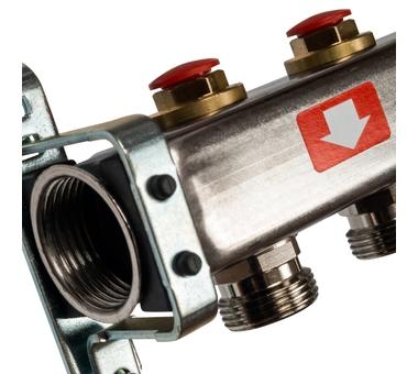 SMS-0932-000012 STOUT Коллектор из нержавеющей стали без расходомеров, с клапаном вып. воздуха и сливом 12 вых.2